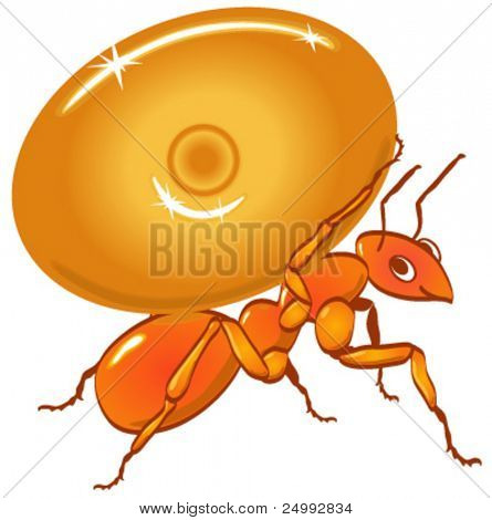 Vector Ant Carrying Caramel Candy