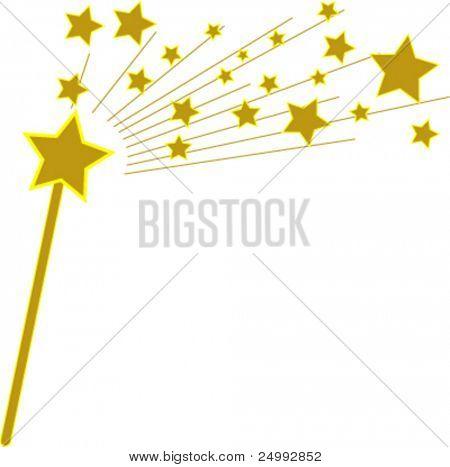 Vector Golden Magic Wand and Stars