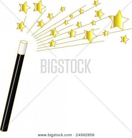 Vetor estrelas e varinha mágica