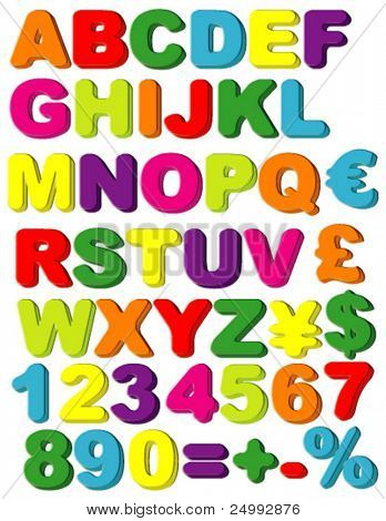 Vector Magnets of Alphabet, Numbers, Maths & Currencies