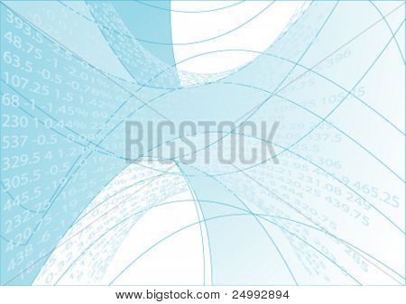 Vector Streaming Financial Numbers with Abstract Wavy Blue Background