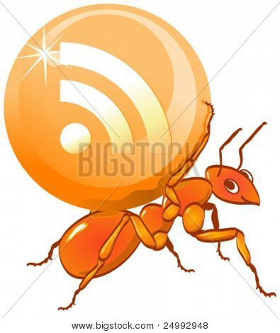 Vector Ant Carrying a Shiny RSS Candy Sweet Ball