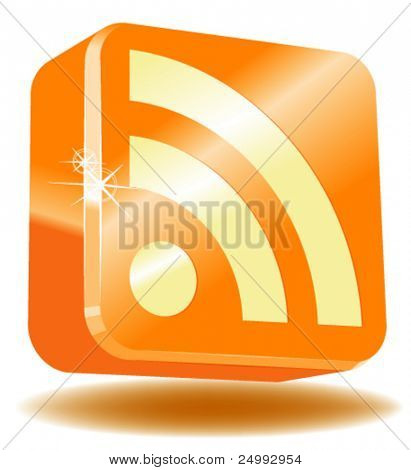 Vector Shiny Glossy RSS Icon in 3D
