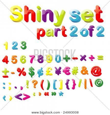 Vector Shiny Magnets Set (Part 2 of 2) - Numbers, Maths, Currencies & Punctuation Marks