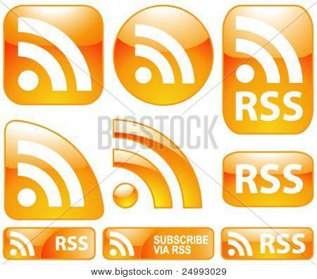 Vektor glänzende glänzende 9 Rss-Icons & Schaltflächen festgelegt