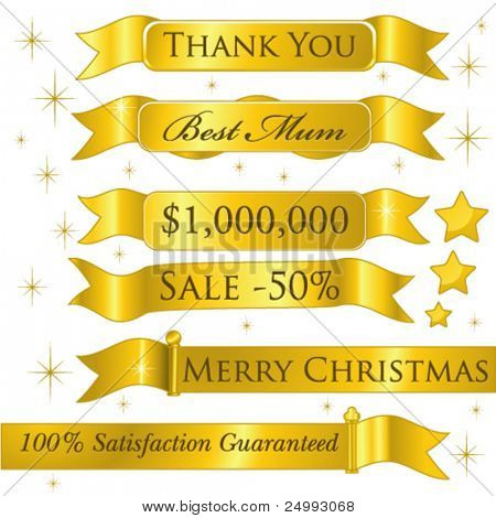 Vector Rich Gold Decorative Ribbons, Banners & Stars Set (Messages are easy to change)