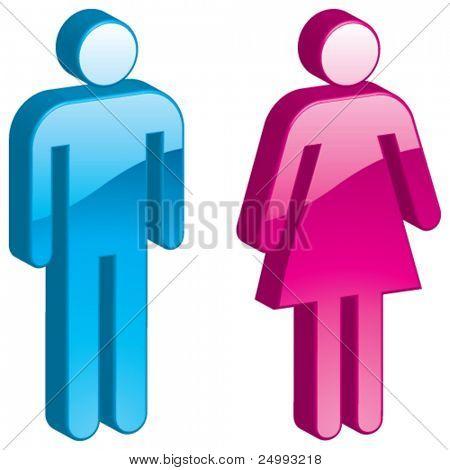 Vector Man & mulher - ícone brilhante 3D