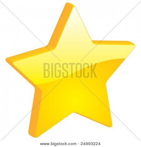 Vector Star, Favorites, Bookmarks - 3D Glossy Icon