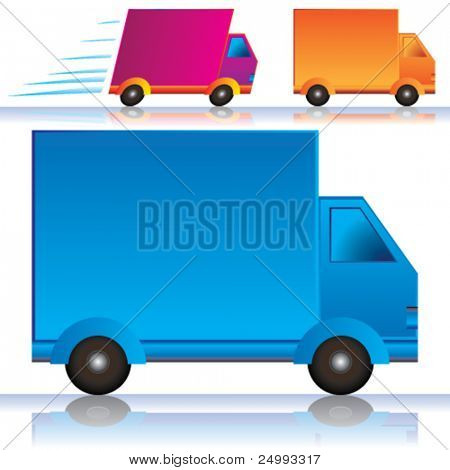Vector Lorry/Vans Icons (Colors are easy to edit; space on side for your text or logo branding)
