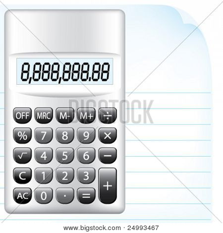 Vector Silver Calculator with Monotone Buttons Resting on a Sheet of Writing Paper
