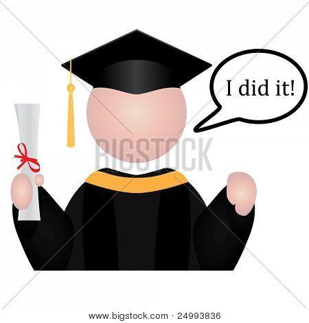 """Ícone de estudante de graduação com discurso bolha dizendo """"Eu fiz isso!"""""""