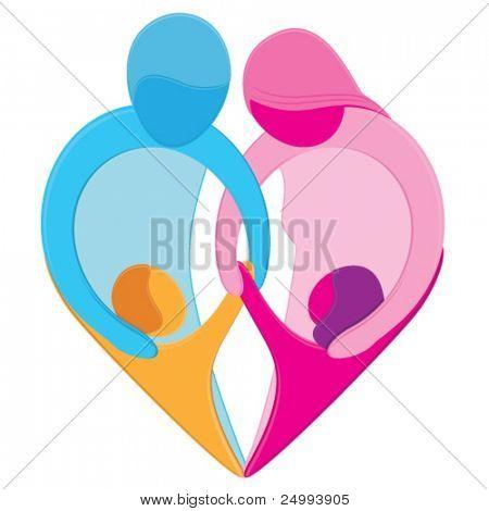 Family Love hart teken. Gestileerde figuren van de moeder, vader, zoon en dochter Houd handen samen voor