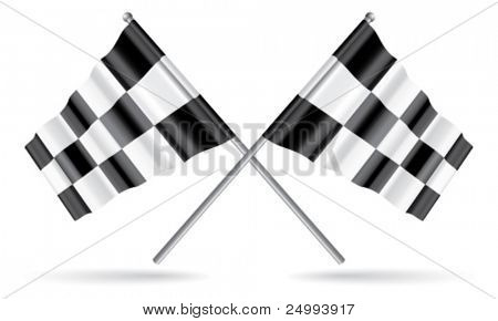 Vector Two Crossed Checkered Flags