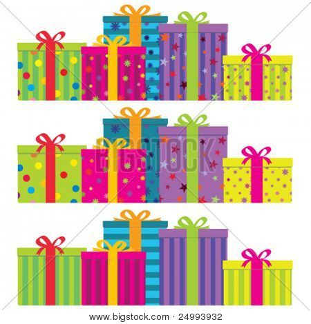 Vector colorful gift boxes with ribbons & bows.  Horizontal arrangement with 3 decoration styles - plain striped (bottom), plain decorated (middle) and a combination of both (top). No gradients.