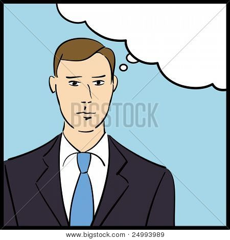 Illustration of a thinking businessman in a pop art/comic style
