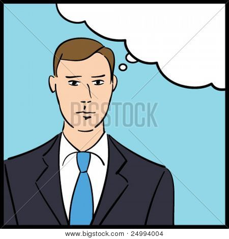 Vector illustration of a thinking businessman in a pop art/comic style