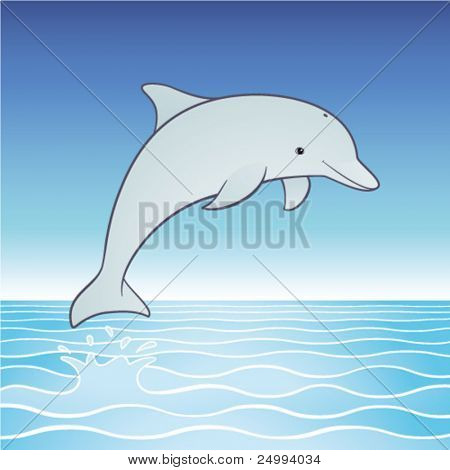 Vector cute jumping dolphin cartoon character.  Playful dolphin leaps out of a tropical sea into a clear blue sky.