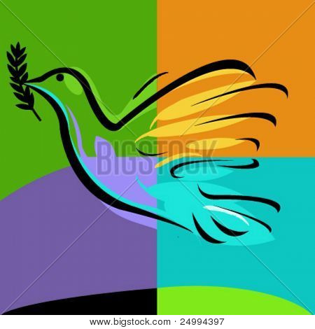 dove carrying a branch of olive tree. Peace concept