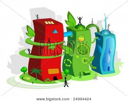 Vector illustration of an eco friendly town