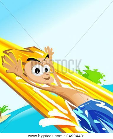 happy man in a water park having fun in a water slide