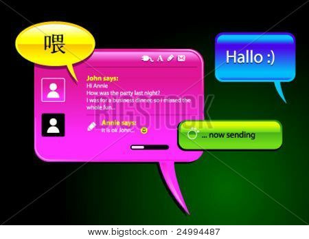messaging and chatting glosy vector balloons. Icons included to simulate the final look. The text can be replaced easy with your own.Each icon can be used as separate element