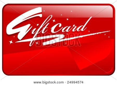 Red shiny seasonal shopping gift card