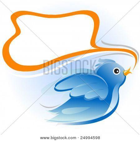 aves con globo de mensaje en blanco