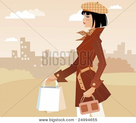 Girl walking with packages