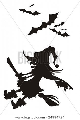 Silhouettes of a witch and group of bats