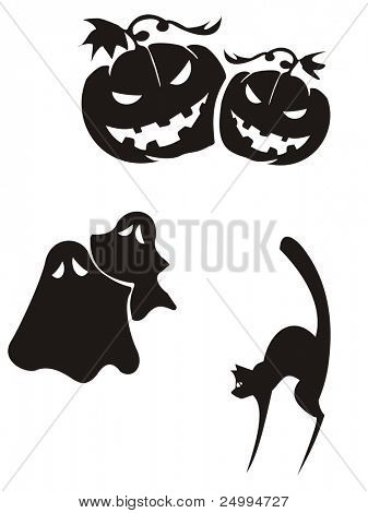 Silhouettes of pumpkins, ghosts and  cat
