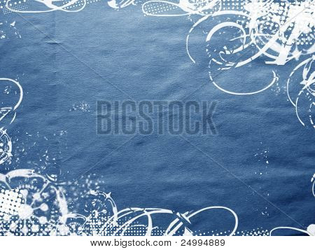 Diseño de invierno Grungy sobre un fondo azul