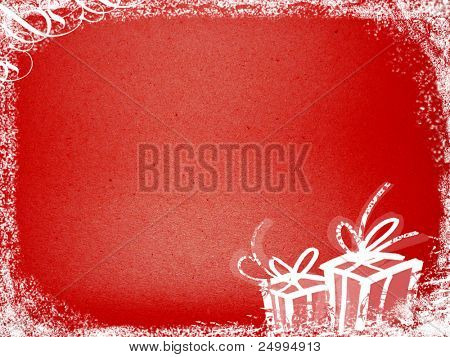 Grungy x-mas background with presents