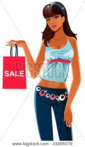 Linda garota sexy com saco de compras