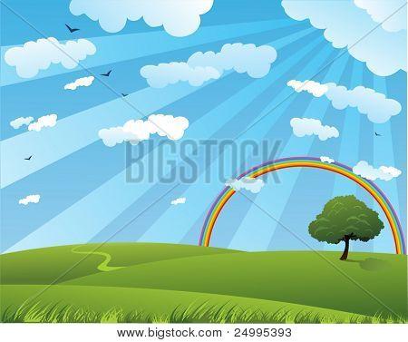 friedliche Sommerlandschaft mit Regenbogen