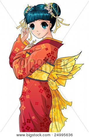 Lindo anime chica en kimono