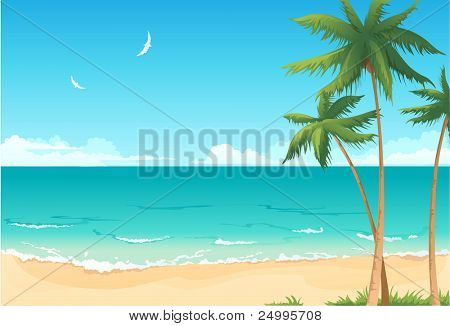 Summer vector background with beach