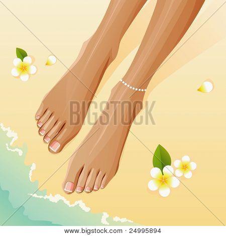 Pedicured piernas con francés pedicura