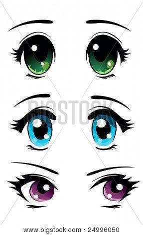 Set of cartoon anime eyes