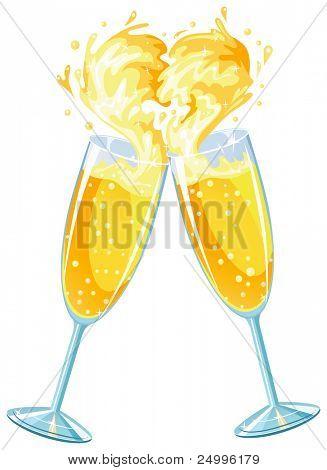 Champagne glasses celebrating