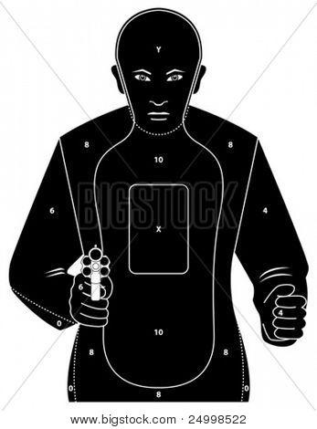 Alvo com homem segurando uma arma