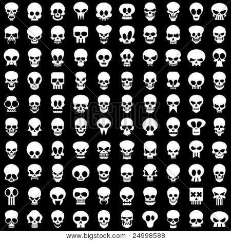 cien diferentes cráneos en fondo negro