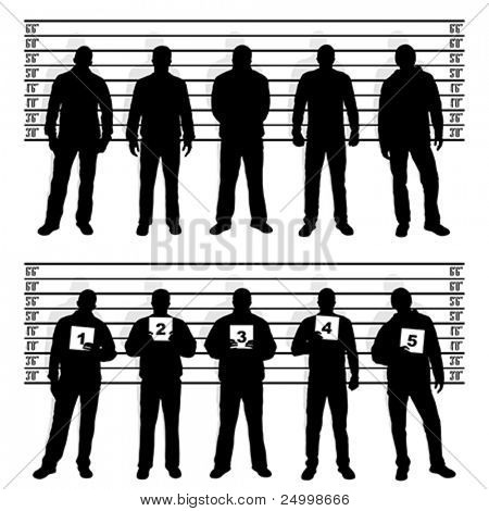 Polizei-Line-up Silhouetten