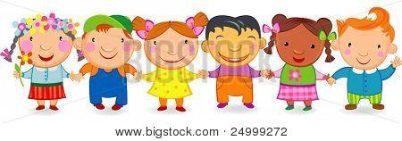 Multi culture kids holding hands.