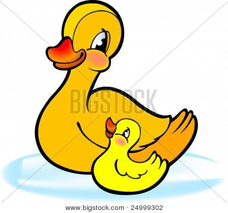 Mother with baby duckling