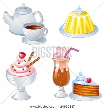 Sweet food and drinks, vector image. See the similar images in my portfolio.