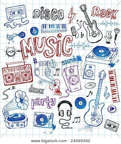 skizzenhaften Musik Illustrationen