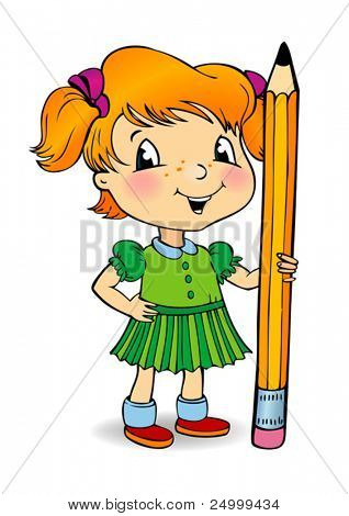 Vector illustration of little girl holding a pencil.