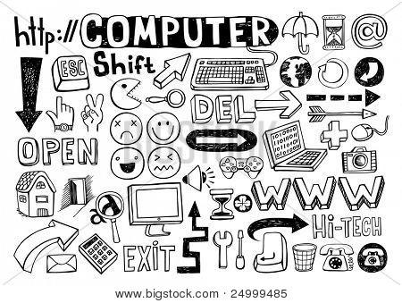Set of computer doodles, 55 elements.