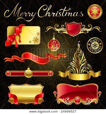 Christmas golden design elements and magnificent inscription.