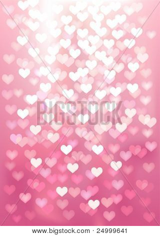 Vector background defocused light in heart shape, no size limit. proportion of A4 format vertical.